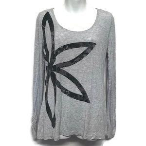 Gaiam Long Sleeve Gray Floral Yoga Activewear